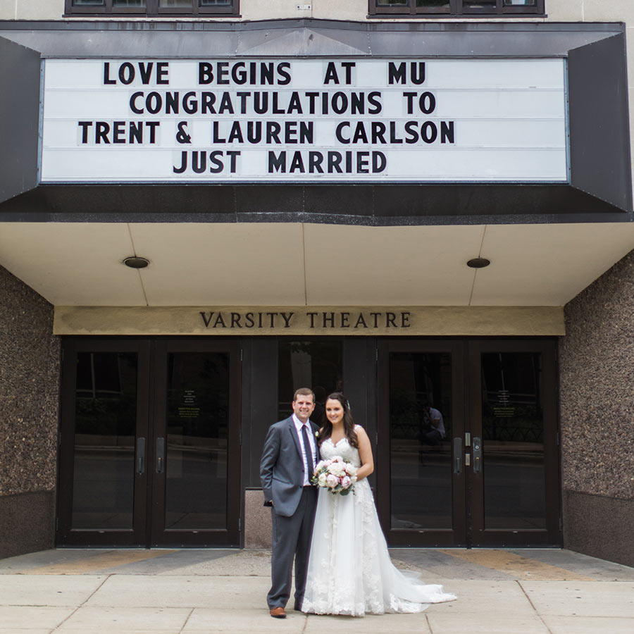 Trent Carlson, Bus Ad '12, Grad '16, and Lauren Polich Carlson, H Sci '13, PA '16